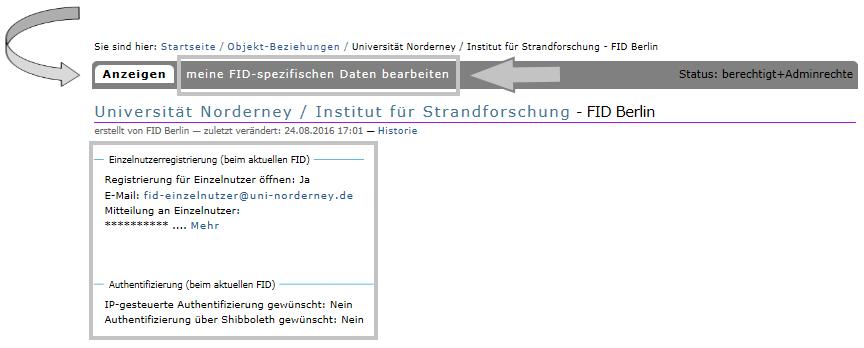 Institution - FID-spezifische Daten bearbeiten 3